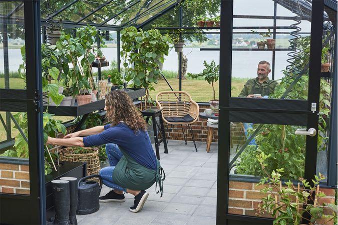 Växthus Juliana Premium 13,0 m² till mur, säkerhetsglas, antracit/svart