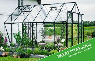 Halls Magnum 9,9 m² säkerhetsglas, svart -växthuspaket med tillbehör till specialpris