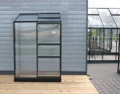Kasvihuone Halls Altan 0,9 m² kennolevyllä, vihreä runko