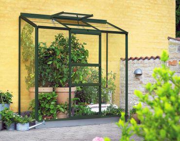 Växthus Halls Altan 1,3 m² glas, grön stomme