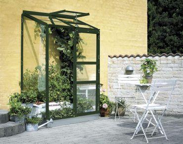 Växthus Halls Altan 0,9 m² glas, grön stomme