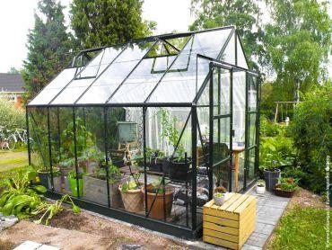 Växthus Halls Magnum 8,3 m² säkerhetsglas, grön färg