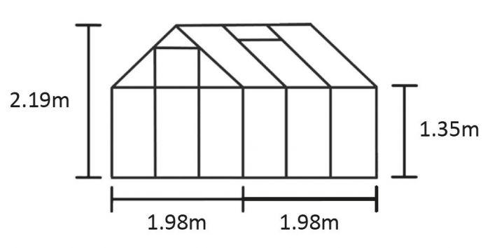Kasvihuone Halls Qube 3,9 m² turvalasilla, musta runko