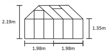 Växthus Halls Qube 3,9 m² säkerhetsglas, svart stomme