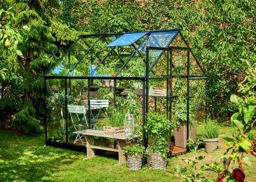 Växthus Halls Qube 5,1 m² säkerhetsglas, svart stomme