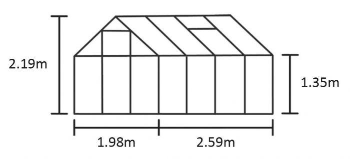 Kasvihuone Halls Qube 5,1 m² turvalasilla, musta runko