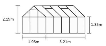 Kasvihuone Halls Qube 6,4 m² turvalasilla, musta runko