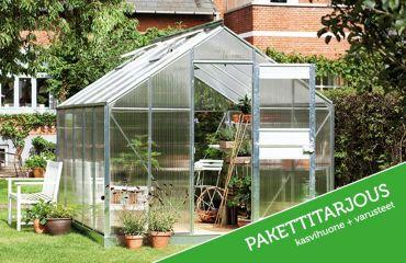 Juliana Junior 10,2 m² alumiini -kasvihuonepaketti varuste-edulla