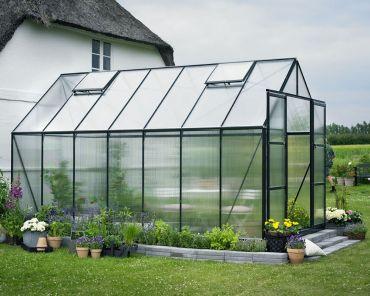 Växthus Halls Magnum 11,5 m² 6 mm isolerplast, grön färg