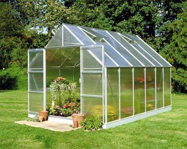 Växthus Halls Magnum 9,9 m² 6 mm isolerplast, aluminium