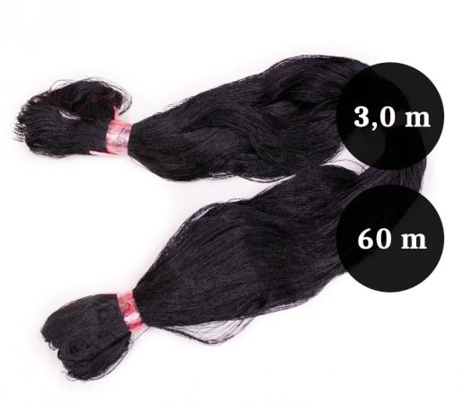 Pietarin kierretty nailonverkkoliina musta 60mm 3,0m lanka  210D/2 pituus 60m