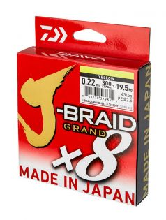 Flätlina J-Braid Grand X8, gul, Daiwa