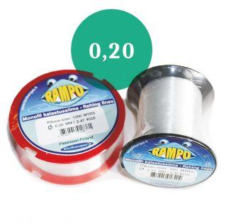 Rampo monofil-lina 0,20 mm brottstyrka 2,23 kg, 1200 m