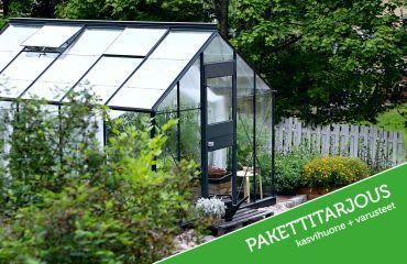 Juliana Junior 10,2 m² antrasiitti -kasvihuonepaketti varuste-edulla