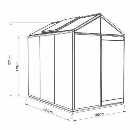 Kasvihuone ACD Piccolo 3,6 m² 4mm turvalasi, musta