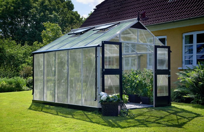Växthus Juliana Premium 10,9 m² 10mm isolerplast, alu/svart färg