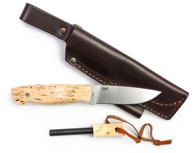 Kniv Brisa Trapper 95 Firesteel, Curly Birch