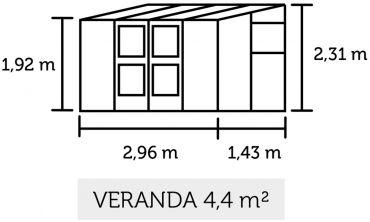 Seinustakasvihuone Juliana Veranda 4,4 lasilla
