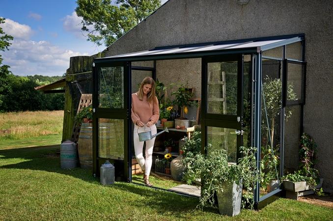 Kasvihuone Juliana Veranda 4,4 m² turvalasilla, antrasiitti/musta väri